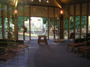 Interior of the Woodland Halll. Epping Forest Woodland Burial Park.